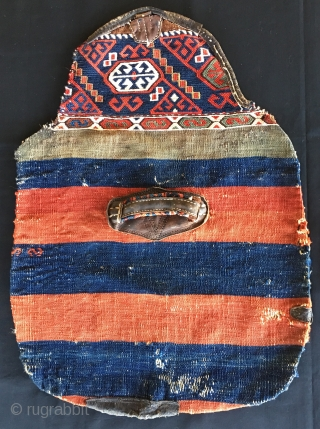 Kilim/sumack/leather mafrash end panels. Cm 45x65 ca each. Late 19th c. Unusual if not unique panels from a mafrash made out of two Eastern Anatolia cuvals/storage bags. Great colors. Great handles. Get  ...