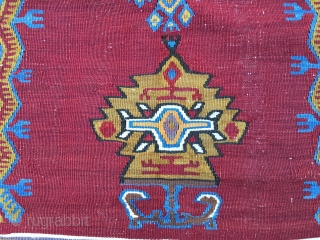 Yahyali kilim - Central Anatolia, Turkey - Prayer design with lamp - Cm 134x208 or ft 4.3x6.8 - Early 20th century or earlier - Lamp, stars, carnations, a real, rare beauty! In  ...
