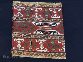 Karabagh sumack mafrash end panels. Antique & sweet. Sizes: cm 36x36 and 37x38. Lovely natural saturated colors: madder red, two indigo blues, a strong yellow, a deep green. White is cotton. Nice  ...