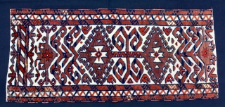 Yomut Tent/Yurt band section/fragment. Cm 46x102 ca. Late 19th century or so. Pile and flat weave. Symmetrical knotting on weft faced ground. (Marla Mallett: Woven Structures). Great piece. Very much enjoyable especially  ...
