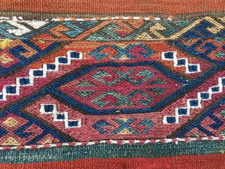 Eastern Anatolia cuval /storage bag. Cm 125x125 ca. End 19th, early 20th c. Fantastic colors! Blue, yellow brown green madder red cochineal red are the main ones. Some pics shot on the  ...