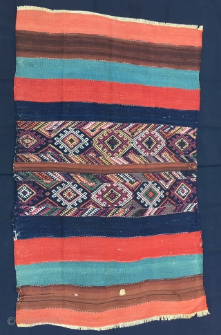 Cuval/storage bag. Eastern Anatolia. Cm 97x152. End 19th c. Great colors, orange, brown, green/lapis red dark blue.... Lovely sumack work in the middle. Good condition, one hole to report and some minor  ...