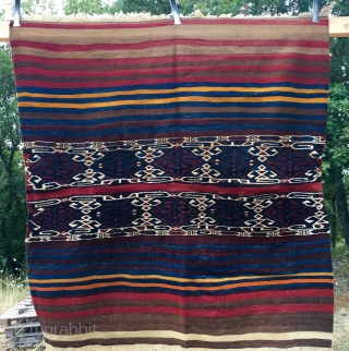 One more storage bag/cuval from Eastern Anatolia. Cm 126x136. Lovely pattern, coarse sumack weave, great natural colors. Two tiny repairs. In good condition. Want more storage bags? Ask please.