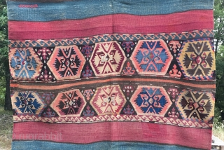 Wonderful Malatya/Sinankoy open cuvall. Cm 115x165 ca. 3th/4th q 19th c. Great natural, saturated colors. Metal thread in the bridge part. Good condition.