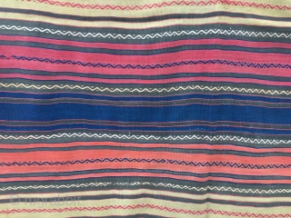 Beautiful striped Kilim with embroideries. Cm 156x207. Eastern Anatolia. In good condition, some old moth bites, one minor restoration.