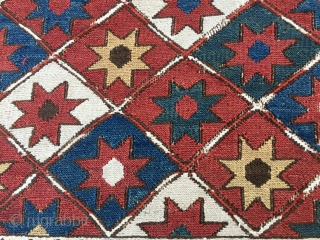 1001 Star Shahsavan Sumack mafrash long panel. Cm 40x108. Wonderful pattern with the ceiling of every Nomad: the sky filled with stars. Lovely natural saturated colors: yellow, green, blue, madder red. White  ...