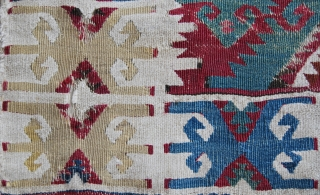 Adana kilim fragment. Mounted on canvas. Cm 136x86. Mid or second half 19th century. Bold colors, great character, poor condition, proud output. Hang it in your sitting room! Not exp.