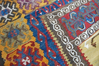 4 great, antique Yahyali kilims. Central Anatolia. All around or over hundred years old. Rare, beautiful, in good condition. Three of them with a prayer pattern, the forth one with three lovely  ...