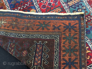 Reshwan tribal group. Antep, south-east Anatolia. Cm 105x180 ca. Late 19th century. All incredibly beautiful natural dyes. In very good condition, tiny areas with low pile. A good luck/long life rug filled  ...