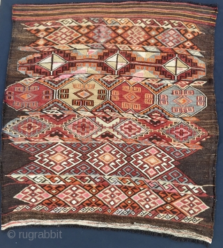 Toros mountains big cuval/bag face. Cm 90x100 ca. Early 20th century.  Goat hair warp, woolen weft, flat weave and cicim work. Mixed colors. Reasonably priced & highly enjoyable.