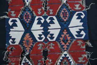 Malatya kilim fragment. Cm 64x382 or ft 2.1x12.5 ca. Mid or early 19th century. Wonderful dyes, great madder and cochineal....among others! See more pics on Facebook: https://www.facebook.com/media/set/?set=a.10151869193689258.1073741886.358259864257&type=1