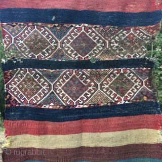 South East Anatolian open cuval. Cm 95x145 ca. Late 19th c. Middle part in bad condition, while the striped wings have wonderful natural colors. Reasonably priced: € 420 plus shipping.