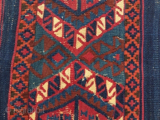 Color kilim wonder fragment. Cm 60x115 ca. 1860sh. South East Anatolia, could be Malatya area. If you succeed to bypass the condition issues of this fabulous fragment you will enjoy the wonderful  ...