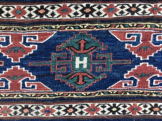 Shahsavan Eagle sumack mafrash end panel. Cm 44/49X57. Datable 1880/1890sh. Rare eagle pattern. Very fine and very very tight weave. White is cotton. The colors are magnificent, natural and deeply saturated: chestnut,  ...