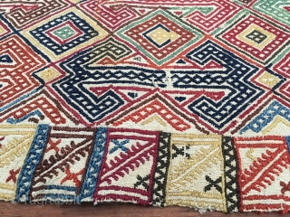 Anatolian kilim. Cm 61x83. Early 20th c. or late 19th c.. Wool weft float brocading on cotton. Lovely workmanship. Wonderful, soft, natural dyes. Great pattern. In good condition. See a similar piece  ...