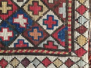 Shahsavan reverse sumack saddle bag face. Right, it's the back side. Fantastic colors. Cm 48x56. 4th q 19th c. Pics & infos on rq