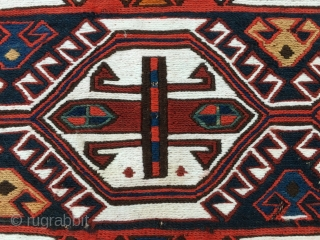 Azerbaijan khorjin sumack bag face. Cm 43x49. Late 19th, early 20th century, so 100 to 120 years old. Beautiful, rare, in good condition, proportioned, etc.... Orange might, say might not be natural,  ...