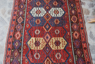 Kars Kilim, Eastern Anatolia, cm 155x410, end 19th century, great colors, great condition, few minor restorations, rare, collection piece.  