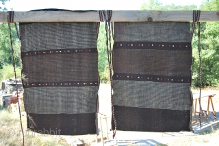 Great PAIR of Yagcibedir Cuvals from Western Anatolia, Turkey. Early 1900, in mint condition. Cm 66x103 ca. each. Wool brocading on goat hair. Woven by nomads in the Bergama area.