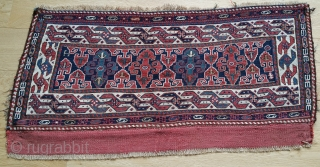 """Beautiful & Charming Khamseh Shahsavan sumack mafrash side panel. Size is 19'x37' or cm 48x94. End 19th century. In great condition. Lovely """"abdal-burun"""" main border also called """"two headed bird"""". The central  ..."""