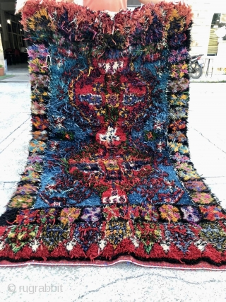 Crazy, simply crazy, a crazy rug. Colorful tornado in the USA? Van Gogh self portrait? Pantone color factory blast? Pollock painting? Anything goes,....but, it's a great Yatak or sleeping rug from Konya  ...