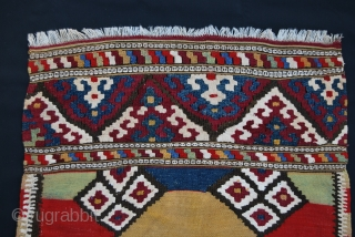 Sweet Manastir kilim. Cm 66x99 ca.  Early 20th c. Wool & cotton. Lovely size & color balance. In good condition, minor missing/stain….find it! One madder red, while the other red seems  ...