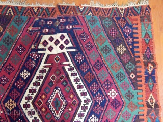 Armenian Reshwani kilim. Cm 160x420. Unusual Reshwani dyed certainly by an Armenian expert dyer who used as much dye as it could be used for 4, 5 kilims. Yes, colors are deeply  ...
