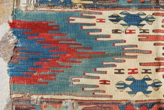 East Anatolian kilim fragment, probably Aleppo. Cm 210x100 ca. Imho could be mid 19th century if not earlier. Fantastic dyes. If you turn it horizontally it looks like a saf.......
