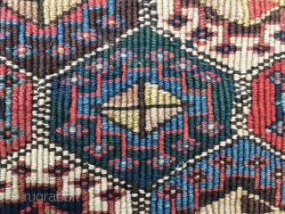 SHAHSAVAN REVERSE SUMACK KHORJIN BAG FACE. CM 46X51 OR IN 18X20. DATABLE 1870/1880. BOLD, HARMONIOUS, BEAUTIFUL. GREAT PATTERN, TIGHT WEAVE, GREAT QUALITY. LOVELY SATURATED NATURAL DYES. SOME FUCHSINE THAT CONFIRMS DATING. PREVIOUSLY PART  ...