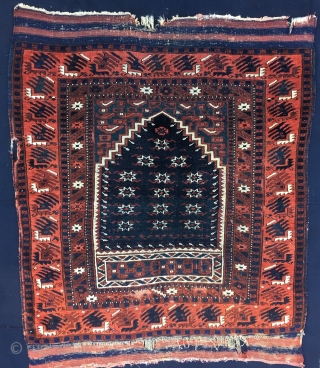 Yagcibedir prayer rug from Balikesir area. With a great indigo star mihrab. The rug is late 19th c and in rather good condition if we skip the kilim elem issues and some  ...