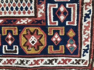 Azerbaijan. Baku sumack khorjin bag face. Cm 34x42. 4th quarter 19th century. Lovely pattern, great natural saturated colors. A little tribal textile jewel.