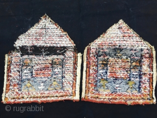 Two Bakhtiari sumack mafrash end panels with triangular top. Cm 51x62 and 56x64. Wool & cotton. Datable back to end of 19th, early 20th century. Tears, holes, need washing and caring. Was  ...