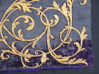 19th century Ottoman velvet fragment. Metal embroidery on silk.  Cm 30x46 or in 11.8x18.1. Not much velvet left, but beautiful. Found framed several years ago in Damascus.