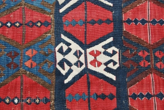 East Anatolian Kilim fragment, almost certainly Adana.  Size is cm 72x101, while is cm 84x116 mounted. Mid or early 19th century. Fantastic saturated colors. The perfect fragment!