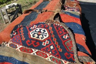 A very rare item: a mafrash made of two East Anatolian cuvals. Great tribal bag. Wonderful colors, needs caring but still in good condition. I've never seen a piece like this before!  ...