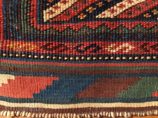 Striped beauty. Kurdish?/Or? Khorjin bag face. Cm 60x60. Early 20th c or earlier. Great, colorful, elegant, beautiful. In good condition.