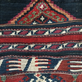 Malatya area, Sinanli tribe, part of the bigger Rashwani tribal group kilim fragment. Cm 72x86. 3rd q 19h c. Lovely colors, see madder & cochineal. Rather rare piece. Very much enjoyable. -------  ...