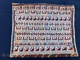 """""""Look how many sheep, goats, chickens, etc…..I own"""" ..was saying the proud Bakhtiari herdsman while commissioning one more khorjin……. —  Bakhtiari khorjin bag.  Cm 50x42, 50x84 open. Early 20th c  ..."""