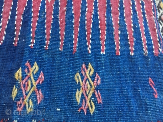 Khorjin bag face. Caucasian? Could be Shirwan? Cm 47x47. 1880/1890sh. Very tight and stiff weave. Lots of embroidery/cicim. Great colors, especially the indigo.