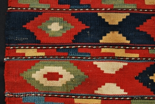 Caucasian, probably Kazak Bordjalu, flatweave mafrash end panel. Cm 43x49 c. Late 19th/early 20th c.