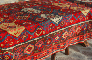 "Kars long Kilim, Eastern Anatolia, cm 155x410, 2nd half 19th century, great colors, great condition, few minor restorations, rare, collection piece. - For ref see ""KIlims"" by Yanni Petsopoulos, page 222, Thames  ..."