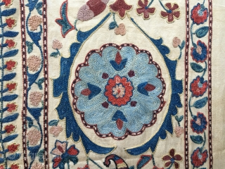 """Great Suzani!!  I decided to call it """"Milles Fleurs"""" and also """"The two chicken Suzani"""". Cm 154x186 ca., embroidered area cm 130x170 ca. Wonderful workmanship, vintage execution. Natural silk tight stitching  ..."""
