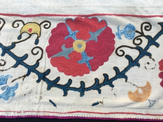 Suzani Kapunuk. Cm 142x216. Early (or mid?) 20th century. Silk on cotton. Wonderful natural colors. Great workmanship. In good condition. Fully backed.