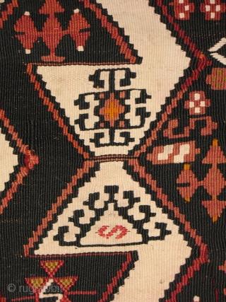 608 Dark Malatya kilim, Eastern Anatolia, Turkey, cm 365X195, early 20th cenury, in good condition, in two pieces A: cm 365X94, B: cm 368X98. - great piece, don't miss it. for more pics pls  ...