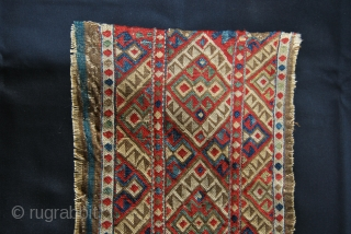 Caucasian Sumack Mafrash Long Panel. Cm 35x92. 3rd/4th q 19th c. Could be Azeri? Shahsavan? Very fine & tight work. Great colors: greens, blues, red, brown…. Needs another good wash.