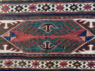 Beautiful & rare Eagle Shahsavan sumack mafrash end panel. Cm 49x58. End 19th, early 20th century, if not earlier. With silk highlights. In vey good condition.  See also these other great  ...