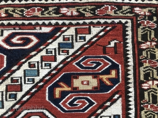 Khyzy sumack khorjin bag face. Cm 44x46. Dated 1312 or 1895. In Azerbaijan, north of Baku, there is the Khyzy or Xizi village. Their sumack bags are simply wonderful. There aren't many  ...