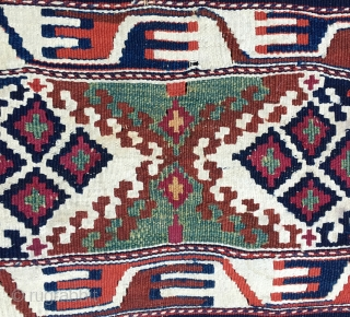 Eastern Anatoiia, Malatya area, Sinanli tribe, part of the bigger Rashwani tribal group, kilim fragment. 3rd q 19h c. Lovely colors, see green, madder & cochineal. Rare piece.