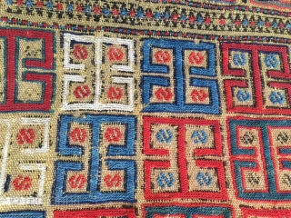 Azerbaijan Antique Yellow Verneh cover.  Cm 160x180 ca. Woven in two parts. Early or mid 19th century. Rare, complete. in good condition with some minor easy restorable issues. A whole range  ...