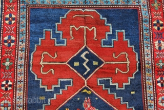 Karabagh rug, cm 235x118, ft 7.7x3.8, early 20th century or older, lovely pattern, great dyes, some old restorations, in good conditions.
